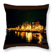 Amsterdam At Night Three Throw Pillow by John Malone