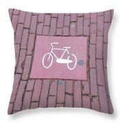 Amsterdam Bicycle Lane Throw Pillow