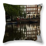 Amsterdam Canal Houses In The Rain Throw Pillow