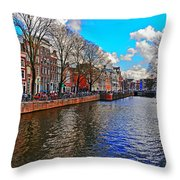 Amsterdam Canal In Spring Throw Pillow