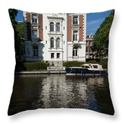 Amsterdam Canal Mansions - Bright White Symmetry  Throw Pillow