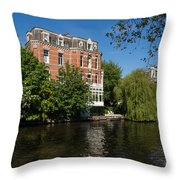 Amsterdam Canal Mansions - Floating By Throw Pillow
