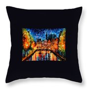 Amsterdam-canal - Palette Knife Oil Painting On Canvas By Leonid Afremov Throw Pillow