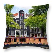 Amsterdam Canal With Houseboat Throw Pillow