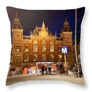 Amsterdam Central Station And Metro Entrance Throw Pillow
