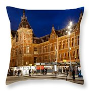 Amsterdam Central Station And Tram Stop At Night Throw Pillow