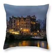 Amsterdam Corner Cafe Throw Pillow