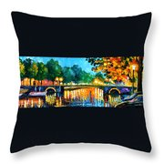 Amsterdam-early Morning - Palette Knife Oil Painting On Canvas By Leonid Afremov Throw Pillow