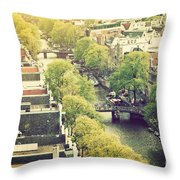 Amsterdam Holland Netherlands In Vintage Style Throw Pillow