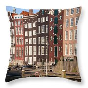Amsterdam Houses Ar Sunset Throw Pillow