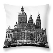Amsterdam In Black And White Throw Pillow