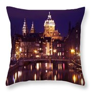 Amsterdam In The Netherlands By Night Throw Pillow