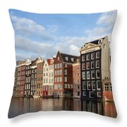 Amsterdam Old Town At Sunset Throw Pillow
