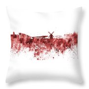 Amsterdam Skyline In Watercolor On White Background Throw Pillow
