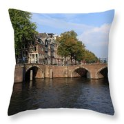 Amsterdam Stone Arch Bridge Throw Pillow
