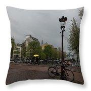 Amsterdam - The Yellow Umbrella Throw Pillow
