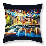 Amsterdam's Harbor - Palette Knife Oil Painting On Canvas By Leonid Afremov Throw Pillow