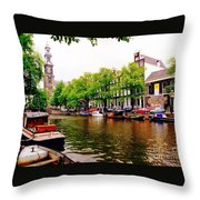 Amsterdams Westerkerk From The Canal  Throw Pillow