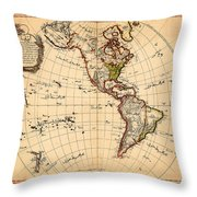 Amtique Map Americas Throw Pillow