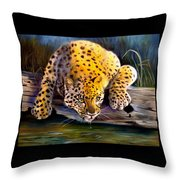 Amur Leopard  Spotted Something Throw Pillow