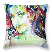 Amy Winehouse Watercolor Portrait.1 Throw Pillow