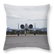 An A-10 Thunderbolt Taxis To The Runway Throw Pillow