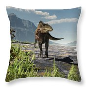 An Acrocanthosaurus Roams An Early Throw Pillow by Arthur Dorety