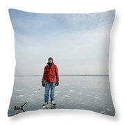 An Adult Male Playing Ice Hockey Poses Throw Pillow
