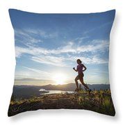 An Adult Woman With A Dog Running Throw Pillow