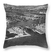 An Aerial View Of Ellis Island Throw Pillow