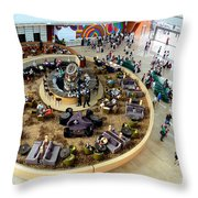 An Aerial View Of The Marina Bay Sands Hotel Lobby Singapore Throw Pillow