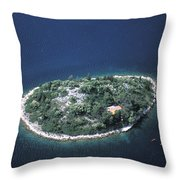 An Aerial View Of Two Kayakers Paddling Throw Pillow