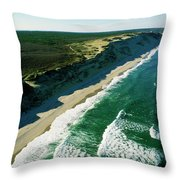 An Aerial View Of Waves Hitting Throw Pillow