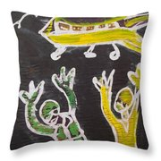 An Aeroplane Moving In The Sky Throw Pillow