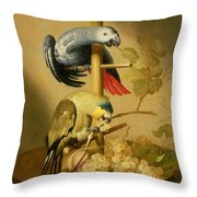 An African Grey And An Orange Winged Amazon Parrot On  A Perch With Grapes Throw Pillow