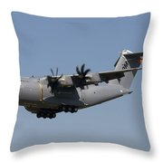 An Airbus Military A400m In Flight Throw Pillow