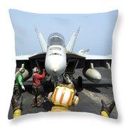 An Aircraft Director Signals Throw Pillow by Stocktrek Images