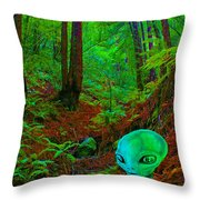 An Alien In A Cosmic Forest Of Time Throw Pillow