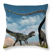 An Allosaurus In A Deadly Battle Throw Pillow