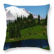An Alpine Lake Foreground Mt Rainer Throw Pillow