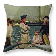 An American Privateer Taking A British Prize, Illustration From Pennsylvanias Defiance Throw Pillow