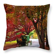 An Amish Autumn Ride Throw Pillow