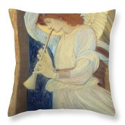 An Angel Playing A Flageolet Throw Pillow