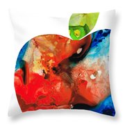 An Apple A Day - Colorful Fruit Art By Sharon Cummings  Throw Pillow by Sharon Cummings