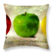 An Apple A Day With Proverbs Throw Pillow