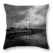 An Approaching Storm - Black And White Throw Pillow