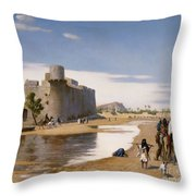 An Arab Caravan Outside A Fortified Town Throw Pillow by Jean Leon Gerome