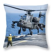 An Army Ah-64d Apache Helicopter Throw Pillow