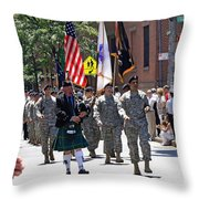 An Army Battalion Marching In The 200th Anniversary St. Patrick Old Cathedral Parade Throw Pillow