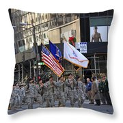 An Army Outfit Marching In The 2009 New York St. Patrick Day Parade Throw Pillow